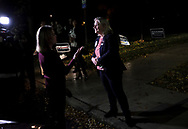Susan Wild, Democratic candidate for Pennsylvania's new 7th Congressional District, talks to members of the media outside a voting locationNov. 6, 2018, at Easton Neighborhood Center in Easton, Pennsylvania.