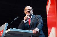 22 MAR 2017, BERLIN/GERMANY:<br /> Martin Schulz, SPD Parteivorsitzender und Spitzenkandidat der SPD zur Bundestagswahl, haelt eine Rede auf dem Neumitgliedertreffen der Berliner SPD, Festsaal Kreuzberg<br /> IMAGE: 20170322-02-106<br /> KEYWORDS: Martin Schulz, speech, Kanzlerkandidat, candidate