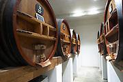 wooden vats domaine p usseglio chateauneuf du pape rhone france