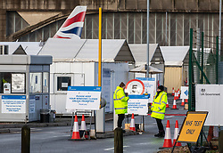 © Licensed to London News Pictures. 28/01/2021. London, UK. A British Airways plane looms over a Covid Test centre next to London Heathrow as the government prepares to tighten UK boarders with an Australian style quarantine scheme where all UK arrivals will be forced to self-isolate in Covid-19 secure hotels. Today Cabinet Office Minister Michael Gove revealed that there will be no interruption to UK Covid-19 vaccine supplies after the EU urged AstraZeneca to supply it with doses of the Oxford vaccine from UK plants. Photo credit: Alex Lentati/LNP