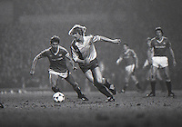 Bernd Schuster (Barcelona) Bryan Robson (United) Manchester United v Barcelona 2nd leg. European Cup Winners Cup. 21/3/84 Old Trafford. Credit : Colorsport