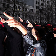"""Women inspired by the Chilean feminist group called Las Tesis perform """"the rape dance"""" in front of the New York City criminal court during Harvey Weinstein rape trial on January 10, 2020 in Manhattan, NYC."""