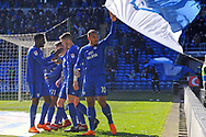 Cardiff City's Kenneth Zohore (10) celebrates after scoring the 1st Cardiff city goal  with team mates. EFL Skybet championship match, Cardiff city v Bristol city at the Cardiff city stadium in Cardiff, South Wales on Sunday 25th February 2018.<br /> pic by Carl Robertson, Andrew Orchard sports photography.