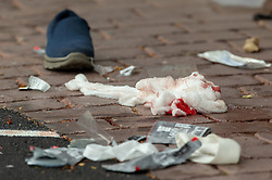 March 15, 2019 - Christchurch, Canterbury, New Zealand - Bloodied bandages on the road following a shooting resulting in multiple fatalities and injuries at the Masjid Al Noor Mosque, Deans Avenue, Christchurch, New Zealand. At least 49 people were killed and 20 seriously injured in mass shootings at two mosques in the New Zealand city of Christchurch. 48 people, including young children with gunshot wounds, were taken to hospital. Three people were arrested in connection with the shootings. (Credit Image: © Martin Hunter/SNPA via ZUMA Wire)