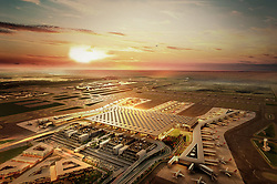 Exclusive - Archive file shows an illustration of new airport. The first phase of Istanbul's new airport is due to open in October 2018, and once it is complete, it is expected to become the world's busiest airport. Istanbul New Airport will be constructed over an area of 76.5 million square meters to the north of İstanbul, 35km away from the city centre. The construction will be carried out in four phases, and the first is scheduled to open on 29 October, Turkey's Republic Day. It will comprise of three runways and a terminal with a capacity for 90 million passengers. Once complete, the new airport will have six runways and will host flights going to more than 300 destinations. It will have an annual passenger capacity of up to 200 million people, making it the world's busiest airport. Photo by Tolga Adanali/Depo Photos/ABACAPRESS.COM