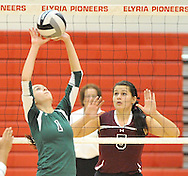 Elyria Catholic vs. Wellington in varsity volleyball on October 18, 2012. Images © David Richard and may not be copied, posted, published or printed without permission.