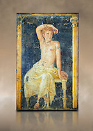 Detail of the Roman fresco wall painting of a young man resting from the  triclinium,  a formal dining room, of the Villa Arianna (Adriana), Stabiae (Stabia) near Pompeii , inv 9093, Naples National Archaeological Museum,  art background .<br /> <br /> If you prefer to buy from our ALAMY PHOTO LIBRARY  Collection visit : https://www.alamy.com/portfolio/paul-williams-funkystock - Scroll down and type - Roman Fresco Naples  - into LOWER search box. {TIP - Refine search by adding a background colour as well}.<br /> <br /> Visit our ROMAN ART & HISTORIC SITES PHOTO COLLECTIONS for more photos to download or buy as wall art prints https://funkystock.photoshelter.com/gallery-collection/The-Romans-Art-Artefacts-Antiquities-Historic-Sites-Pictures-Images/C0000r2uLJJo9_s0