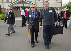 © Licensed to London News Pictures. 05/06/2014.  DDay Veterans head off to board the Remembrance tour coach hosted by the Royal British Legion as they depart to Pegasus Bridge and  Ranville this morning ahead of the 70th Anniversary of the D Day landings in Normandy.  Photo credit : Alison Baskerville/LNP