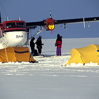 ANTARCTICA. Twin Otter-supported reconnaissance expedition camps on Ronne Ice Shelf en route to Queen Maud Land.