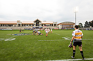 Utah Valley University takes on Clemson University at Red Bull Uni 7s Rugby Qualifiers at Infinity Park in Glendale, CO, USA, on 25 August, 2016.