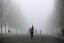 © Licensed to London News Pictures. 28/12/2020. London, UK. Runners in dense freezing fog in Finsbury Park, north London as many parts of the UK wakes to further freezing temperatures. Photo credit: Dinendra Haria/LNP