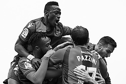 March 4, 2018 - Valencia, Valencia, Spain - (EDITORS NOTE: the image has been converted to black and white) Levante UD players celebrate a goal during the La Liga match between Levante UD and RCD Espanyol at Ciutat de Valencia on March 4, 2018 in Valencia, Spain  (Credit Image: © David Aliaga/NurPhoto via ZUMA Press)