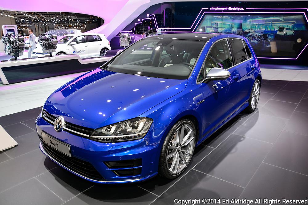 GENEVA, SWITZERLAND - MARCH 4, 2014: Volkswagen Golf R on display during the Geneva Motor Show.
