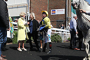 Jockey John Egan with Roy Rocket in the winner's enclosure for the 2.50 race at Brighton Racecourse, Brighton & Hove, United Kingdom on 10 June 2015. Photo by Bennett Dean.