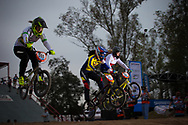 #555 (MCLEOD Melinda) AUS, #39 (CARR Amanda) THA and #52 (HLADIKOVA Aneta) CZE at the 2014 UCI BMX Supercross World Cup in Santiago Del Estero, Argentina.