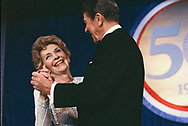 Washington, DC 1985/01/20  President Ronald Reagan  and First Lady Nancy Reagan dance at one of the Inaugral Balls.<br /><br /><br />Photo by Dennis Brack