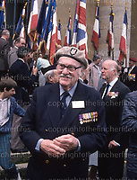 Lieutenant Colonel Oswald A. J. Cary-Elwes at a memorial service in Sennecey-Le-Grand 4th September 1988. 44 years earlier the SAS carried out a devastating assault on a German garrison surrounding the town. The Lieutenant Colonel was famous for commanding a SAS assault during 'Operation Lost' June 1944 in Brittany.
