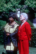 A 24 MG IMAGE OF:<br /> W Mendela and Barbara Bush at an arrival ceremony on the South lawn of the White House in June 1990<br /> <br /> <br /> <br /> <br /> Photograph by Dennis Brack  bsb12