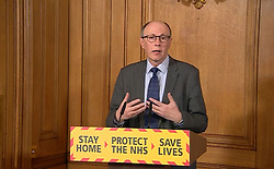 Screen grab of National Medical Director at NHS England Stephen Powis answering questions from the media via a video link during a media briefing in Downing Street, London, on coronavirus (COVID-19).