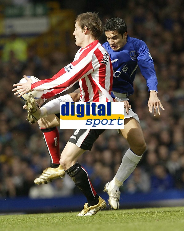 Photo: Aidan Ellis.<br /> Everton v Sunderland. The Barclays Premiership. 01/04/2006.<br /> Everton's Tim Cahill clashes with Sunderland's Dean Whitehead