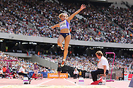 Jazmin Sawyers of Great Britain in the long jump during the Sainsbury's Anniversary Games at the Queen Elizabeth II Olympic Park, London, United Kingdom on 25th July 2015. Photo by Ellie Hoad.