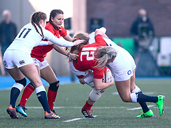 Hannah Bluck of Wales is tackled by Zoe Harrison of England<br /> <br /> Photographer Simon King/Replay Images<br /> <br /> Six Nations Round 3 - Wales Women v England Women - Sunday 24th February 2019 - Cardiff Arms Park - Cardiff<br /> <br /> World Copyright © Replay Images . All rights reserved. info@replayimages.co.uk - http://replayimages.co.uk