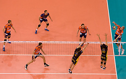 Oliver Venno (R) of ACH vs Daniel Plinski (4) and Miguel Falasca of Belchatow at  match for 3rd place of CEV Indesit Champions League FINAL FOUR tournament between PGE Skra Belchatow, POL and ACH Volley Bled, SLO on May 2, 2010, at Arena Atlas, Lodz, Poland. Belchatow defeated ACH 3-1. (Photo by Vid Ponikvar / Sportida)