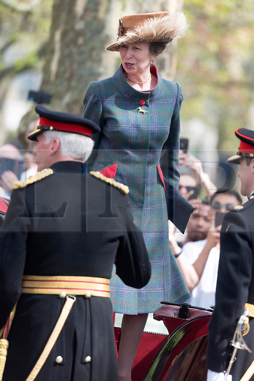 © Licensed to London News Pictures. 22/04/2019. London, UK. The Princess Royal attends The King's Troop Royal Horse Artillery the 41 Gun Royal Salute in Hyde Park in honor of HRH Queen Elizabeth 93rd Birthday. Photo credit: Ray Tang/LNP