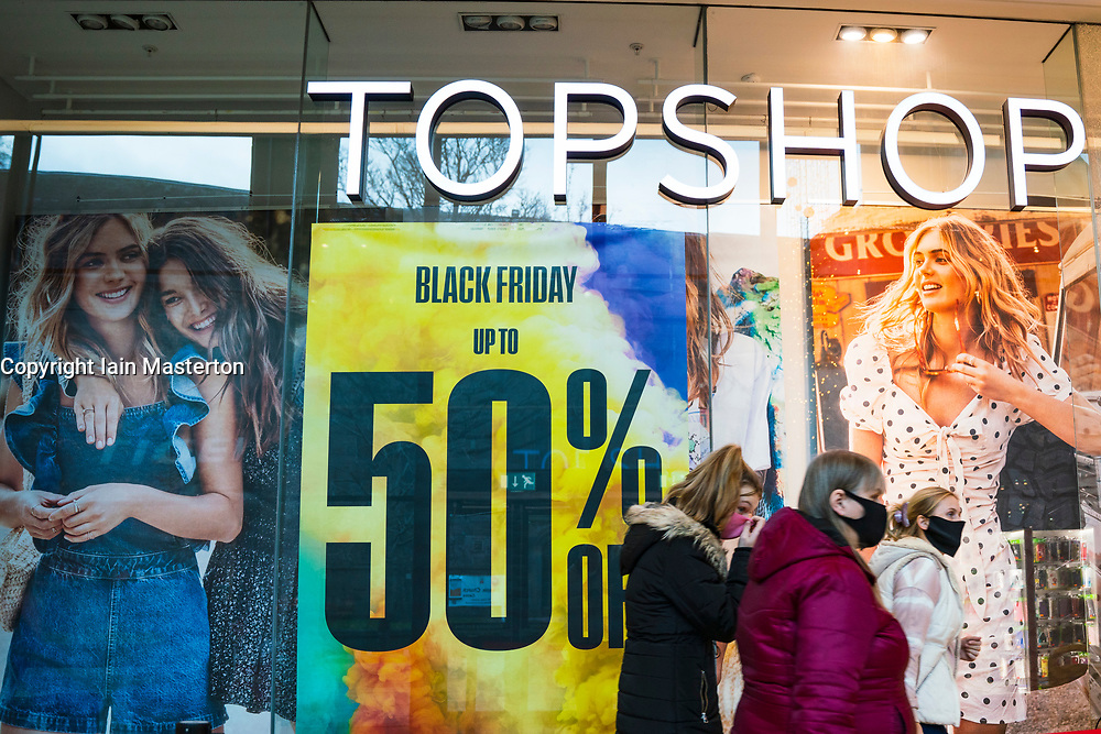 Dundee, Scotland, UK. 27 November 2020 . Philip Green's Arcadia retail group is on brink of collapse and the future of chains such as Topshop, Topman and Dorothy Perkins is in doubt. Pictured; Topman and Topshop store in Overgate shopping centre in Dundee.  Iain Masterton/Alamy Live News