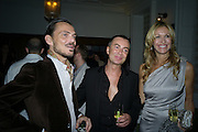 MATTHEW WILLIAMSON; JULIAN MACDONALD; MELISSA ODABASH, Vogue's Celebration of Fashion Dinner in association with Creme de la Mer. the Albermarle, Browns Hotel. Albermarle st. London. 18 September 2008. *** Local Caption *** -DO NOT ARCHIVE-© Copyright Photograph by Dafydd Jones. 248 Clapham Rd. London SW9 0PZ. Tel 0207 820 0771. www.dafjones.com.