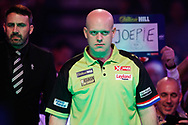 Michael van Gerwen, game face, ready for his walk-on during the World Darts Championships 2018 at Alexandra Palace, London, United Kingdom on 29 December 2018.