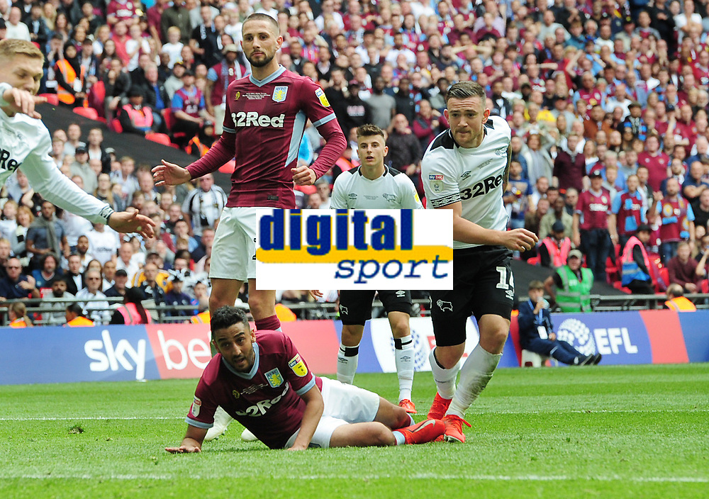 Football - 2018 / 2019 EFL Sky Bet Championship Play-Off Final - Aston Villa vs. Derby County<br /> <br /> Derby substitute , Jack Marriott pulls a goal back, at Wembley Stadium.<br /> <br /> COLORSPORT/ANDREW COWIE