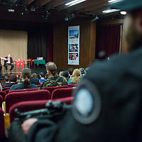 US actor John de Lancie (L in the back) talks on stage during a meeting with his fans in Budapest, Hungary on January 11, 2015. ATTILA VOLGYI