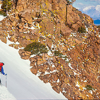 Lois Rice skis a Backcountry chute near Mammoth Mountain, CA.