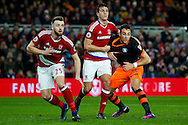 Middlesbrough defender Bernardo Espinosa (5) gets a tight grip of Sheffield Wednesday forward  Atdhe Nuhiu (44)  during the The FA Cup match between Middlesbrough and Sheffield Wednesday at the Riverside Stadium, Middlesbrough, England on 8 January 2017. Photo by Simon Davies.