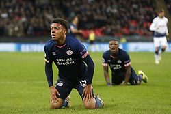 (L-R), Donyell Malen of PSV, Steven Bergwijn of PSV during the UEFA Champions League group C match between Tottenham Hotspur FC and PSV Eindhoven at the Wembley stadium on November 06, 2018 in London, England