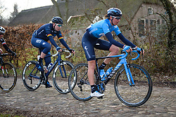 Aude Biannic accross the the cobbles at Drentse 8 van Westerveld 2018 - a 142 km road race on March 9, 2018, in Dwingeloo, Netherlands. (Photo by Sean Robinson/Velofocus.com)