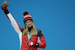 February 12, 2018 - Pyeongchang, South Korea - JUSTINE DUFOR-LAPOINTE of Canada on the podium for the Ladies's Moguls event in the PyeongChang Olympic games. (Credit Image: © Christopher Levy via ZUMA Wire)
