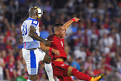 October 6, 2017 - Orlando, Florida, USA - Panama defender Felipe Baloy (23) and United States forward Bobby Wood (9) go airborne for a ball during a World Cup qualifying game at Orlando City Stadium on Oct. 6, 2017 in Orlando, Florida.  The US won 4-0....Zuma Press/Scott A. Miller (Credit Image: © Scott A. Miller via ZUMA Wire)