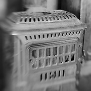 Rusted Iron Wood Stove - Bodie, CA - Lensbaby - Black & White