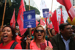 March 22, 2019 - SãO Paulo, Brazil - Protesters make an act against the pension reform of Brazil's president Jair Bolsonaro on avenue Paulista, central region of São Paulo, on Friday. March 22, 2019. (Credit Image: © FáBio Vieira/FotoRua via ZUMA Wire)
