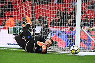 England Goalkeeper Jordan Pickford (22) warms up ahead of the Friendly match between England and Italy at Wembley Stadium, London, England on 27 March 2018. Picture by Stephen Wright.