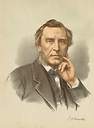 'James Anthony Froude (1818-1894) English historian, novelist and biographer. Regius Professor  of Modern History at Oxford 1892-1894. Tinted lithograph c1880.'