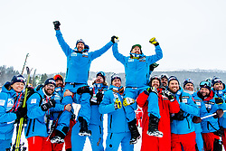 February 9, 2019 - Re, SWEDEN - 190209 Aksel Lund Svindal and Kjetil Jansrud of Norway celebrates with the team after the men's downhill during the FIS Alpine World Ski Championships on February 9, 2019 in re..Photo: Joel Marklund / BILDBYRN / kod JM / 87853 (Credit Image: © Joel Marklund/Bildbyran via ZUMA Press)