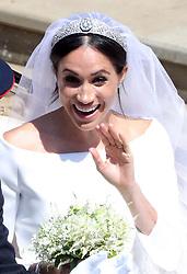 Meghan Markle leaves St George's Chapel in Windsor Castle after her wedding.