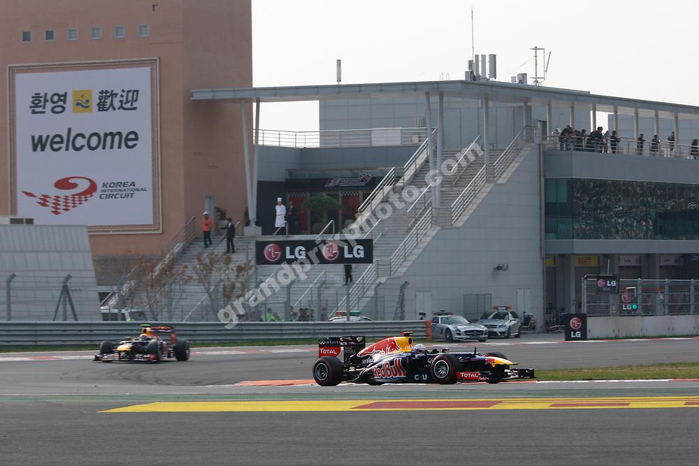 Sebastian Vettel leads Red Bull-Renault team-mate Mark Webber in the 2012 Korean Grand Prix in Yeongam. Photo: Grand Prix Photo