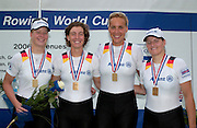 Poznan, POLAND.  2006, FISA, Rowing World Cup. Bronze Medallist Women's Quads, GER W4X, Christiane Huth,  Susanne SCHMIDT,  Magdalena SCHMUDE, Stephanie SCHILLER,   'Malta Regatta course;  Poznan POLAND, Sat. 17.06.2006. © Peter Spurrier   ....[Mandatory Credit Peter Spurrier/ Intersport Images] Rowing Course:Malta Rowing Course, Poznan, POLAND
