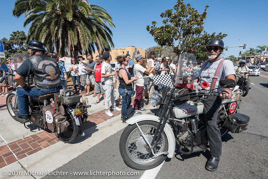 3,400 miles from the Atlantic to the Pacific - The journey is over. Mike Bell of Texas riding his 1916 Harley-Davidson crosses the finish line of the Motorcycle Cannonball Race of the Century. Stage-15 ride from Palm Desert, CA to Carlsbad, CA. USA. Sunday September 25, 2016. Photography ©2016 Michael Lichter.