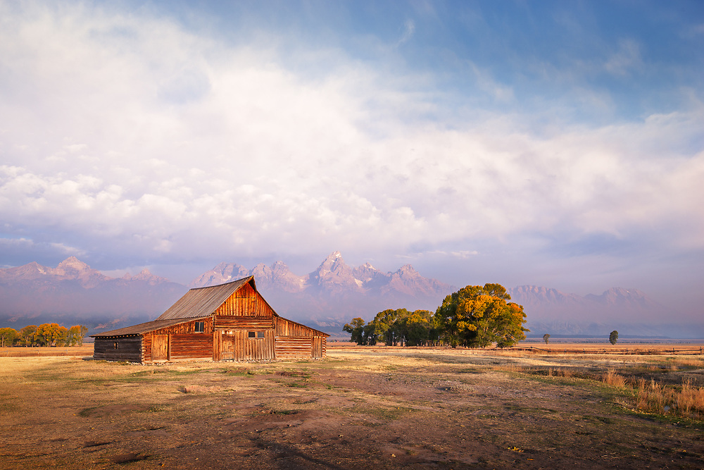 The iconic barn built by Thomas Moulton in the early 1900's sits in front of the Grand Tetons at sunrise in Jackson Hole, Wyoming.