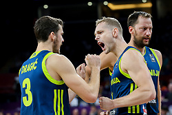 Goran Dragic of Slovenia, Jaka Blazic of Slovenia and Sasa Zagorac of Slovenia celebrate during basketball match between National Teams of Slovenia and Spain at Day 15 in Semifinal of the FIBA EuroBasket 2017 at Sinan Erdem Dome in Istanbul, Turkey on September 14, 2017. Photo by Vid Ponikvar / Sportida